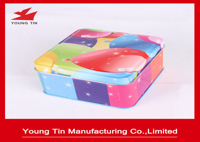 Colorful Gift Packaging Square Tin Containers With Lids Eco - Friendly Customized