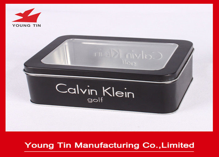 Black Gift Printed Tin Containers 0.23mm Rectangle Metal Watch Packaging Clear Window On Top