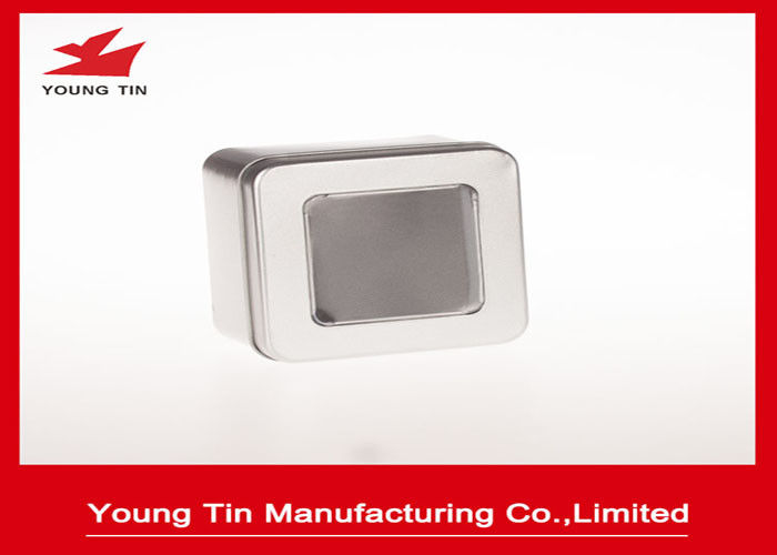 Steel Tinplate Blank Square Metal Tins With Clear PVC / PET Window On Cap